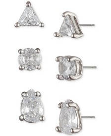 Silver-Tone 3-Pc. Set Crystal Stud Earrings