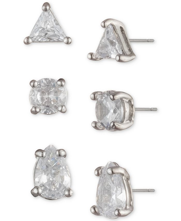 Givenchy - Silver-Tone 3-Pc. Set Crystal Stud Earrings
