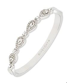 Silver-Tone Crystal Navette Bangle Bracelet