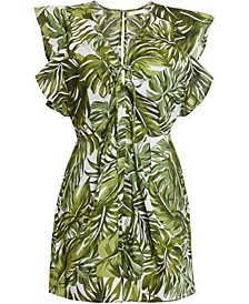 Tropical-Print Ruffled Romper