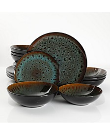 Kyoto Teal 16-piece Double Bowls Dinnerware Set, Service for 4