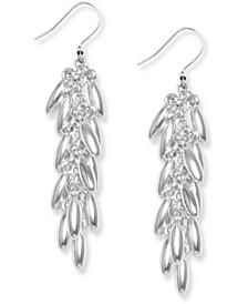 Silver-Tone Leaf Shaky Linear Drop Earrings