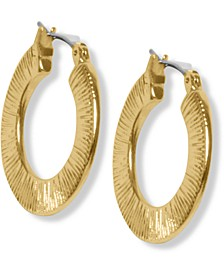 Gold-Tone Etched Flat Hoop Earrings
