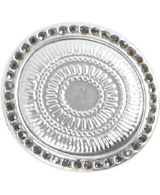Lucky Brand Silver-Tone Pavé Hammered Circle Statement Ring