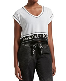 Women's Double Layer Crop V-Neck Tee