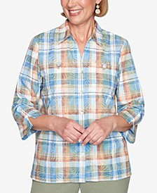 Plus Size Three Quarter Sleeve Tow Pocket Burnout Plaid Woven Shirt