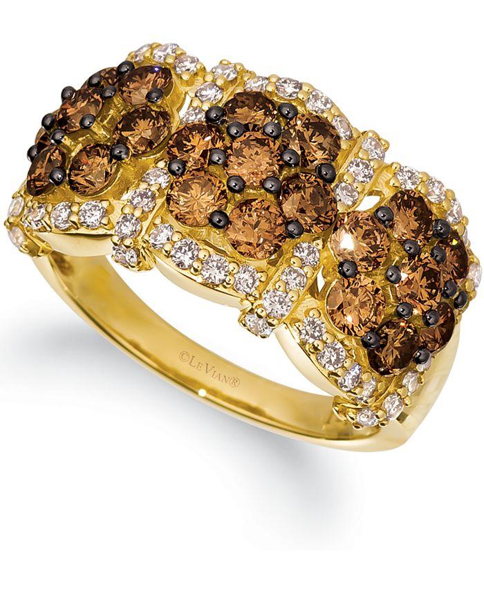 Le Vian - Chocolate Diamond (1-3/4 ct. t.w.) & Nude Diamond (1/2 ct. t.w.) Triple Cluster Ring in 14k Gold