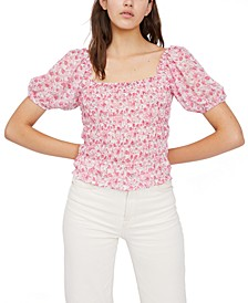Printed Smocked Square-Neck Top