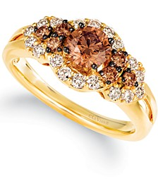 Chocolate Diamonds® (5/8 ct. t.w.) & Nude Diamonds™ (3/8 ct. t.w) Statement Ring in 14k Yellow or White Gold