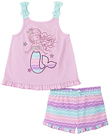 Little Girls 2-Pc. Mermaid Top & Striped Shorts Set