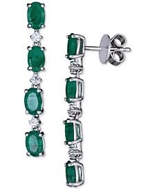 Emerald (4 ct. t.w.) & White Sapphire (5/8 ct. t.w.) Linear Drop Earrings in Sterling Silver