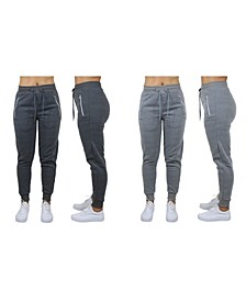 Women's Loose Fit Fleece Joggers with Zipper Pockets, Pack of 2