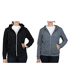 Galaxy By Harvic Women's Fleece Lined Zip Hoodie, Pack of 2