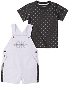 Baby Boys 2-Pc. Printed Cotton T-Shirt & Shortalls Set