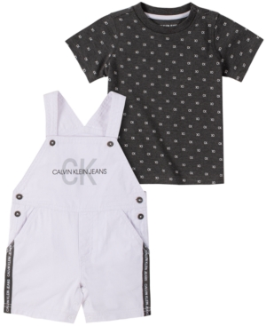 Calvin Klein Baby Boys 2-Pc. Printed Cotton T-Shirt & Shortalls Set