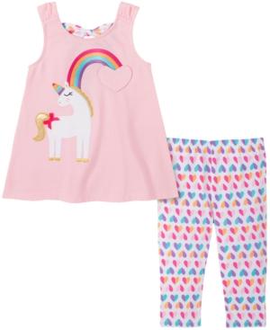 Kids Headquarters Baby Girls 2-Pc. Rainbow Unicorn Tunic & Heart-Print Leggings Set
