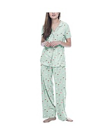 Women's Coffee Short Sleeve Classic Pajama Set