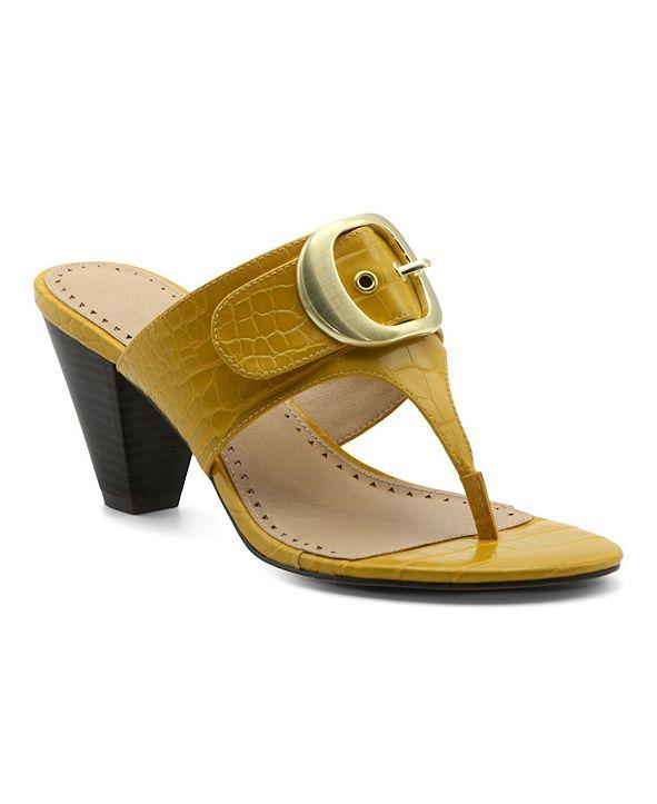 Adrienne Vittadini Women's Polka Mid-Heel Thong Sandals