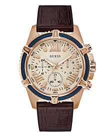Rose-Gold Tone Leather and Silicone Flex Strap Multifunction Watch 48mm
