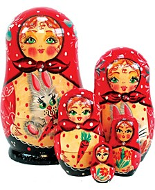 5 Piece Bunny Russian Matryoshka Nested Doll Set