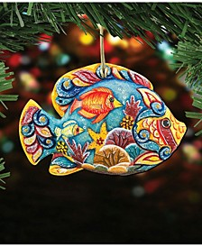 Tropical Fish Wooden Christmas Ornament Set of 2