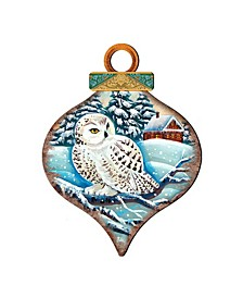 White Owl Drop Wooden Ornaments, Set of 2