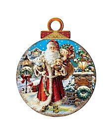 by Dona Gelsinger Silent-Night-Santa Ornament, Set of 2