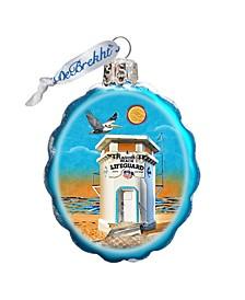 Laguna Beach Tower Hand Painted Glass Ornament