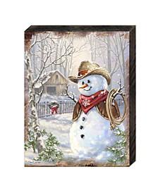 by Dona Gelsinger Cowboy Snowman Wooden Block