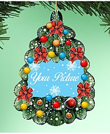 Christmas Tree Oval Picture Frame Ornament Set of 2