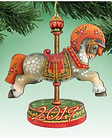 Carousel Horse Wooden Ornaments, Set of 2