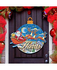 Up and Away Santa Wooden Family Name Door Hanger