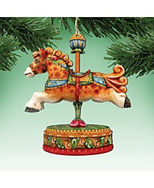 Curly Carousel Pony Wooden Christmas Ornament, Set of 2