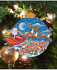 2019 Up and Away Dated Wooden Christmas Ornament, Set of 2