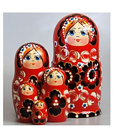 Red Floral 5 Piece Russian Matryoshka Nested Doll Set