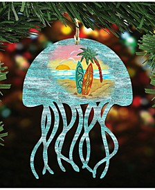 Jellyfish Scenic Wooden Christmas Ornament Set of 2
