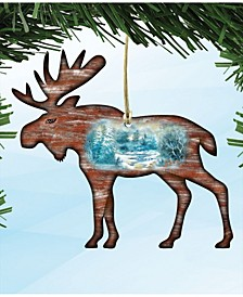 Woodsy Moose Scenic Wooden Christmas Ornament Set of 2