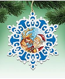 Reindeer Ride Snowflake Wooden Christmas Ornament Set of 2