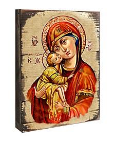 "Icon Vladimir Virgin Mary Wall Art on Wood 16"""