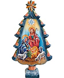 Hand Painted Nativity Tree Figurine