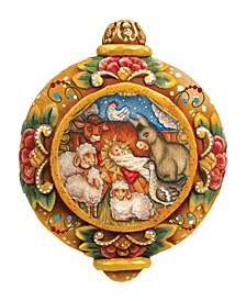 Hand Painted Village Nativity Scenic Ornament