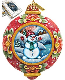 Hand Painted Scenic Ornament Snowman