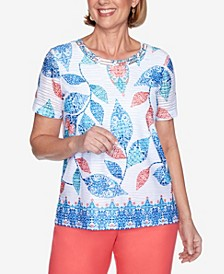 Plus Size Short Sleeve Batik Leaves Print Knit Top with Embellished Neckline and Border Trim