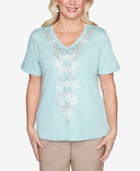 Alfred Dunner Plus Size Short Sleeve Center Medallion Embroidered Knit Top