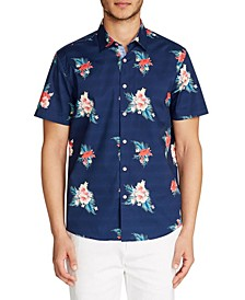 Tallia Men's Slim-Fit Stretch Floral Print Short Sleeve Shirt and a Free Face Mask With Purchase