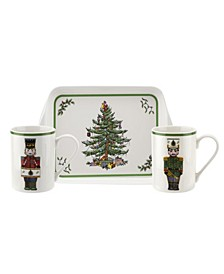 Christmas Tree Nutcracker 3 Piece Mug and Melamine Tray Set
