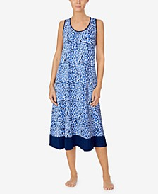 Sleeveless Printed Nightgown