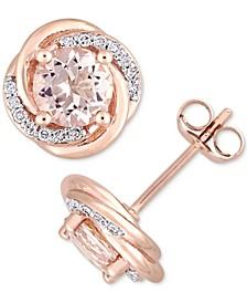 Morganite (1-3/4 ct. t.w.) & Diamond (1/7 ct. t.w.) Swirl Halo Stud Earrings in 10k Rose Gold