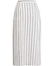Striped Zip Midi Skirt