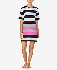 DKNY Women's Striped Sleep Shirt Nightgown
